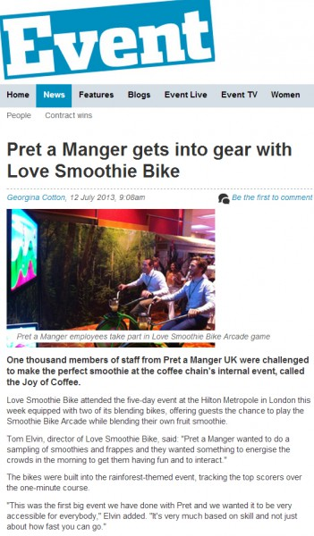 Event - Pret News Article